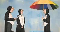 2662678 Drei Pinguine und ein Regenschirm… Das Foto zeigt bei den Proben (v. l.) Franzi Leigers, Carolina Kramer und Rieke Wübben. Fanslau-Foto