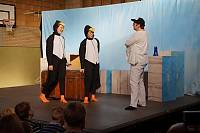 Zwei Pinguine wollen auf der Arche einchecken